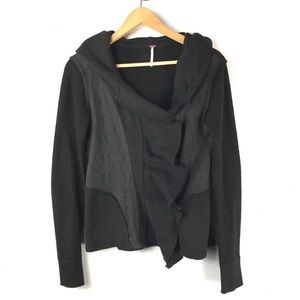 Free People Jacket Black Lace Hooded Snap Button